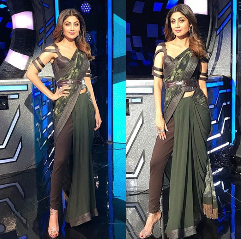Shilpa Shetty, Shilpa Shetty latest photos, Shilpa Shetty saris, Shilpa Shetty sari with belt, Shilpa Shetty fusion fashion, Shilpa Shetty fashion, Shilpa Shetty latest style, indian express, indian express news