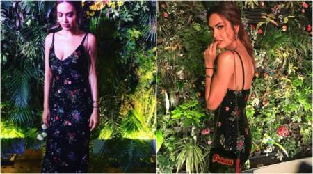 Esha Gupta adds a bold touch to her simple slip dress; see pics