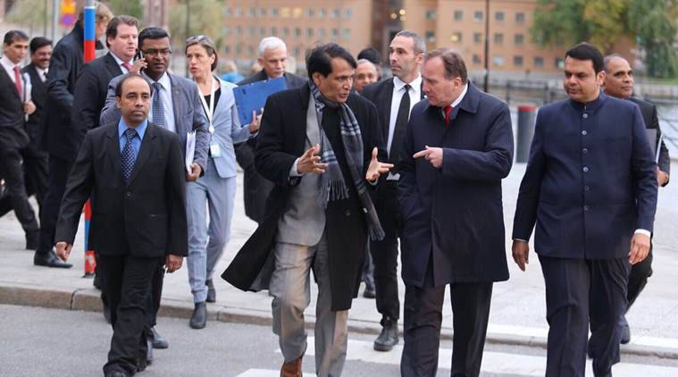 Devedra Fadnavis, Fadnavis in Sweden, Swedish PM, Fadnavis Stefan Lofven, Suresh Prabhu, India news, Indian Express