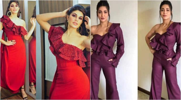 Jacqueline Fernandez, Jacqueline Fernandez latest photos, Shruti Hassan, Shruti Hassan latest photos, ruffle fashion, ruffle dresses, indian express, indian express news