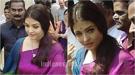 Aishwarya Rai Bachchan oozes elegance in a purple silk sari during the festive season