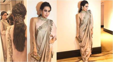 Karisma Kapoor slays in a monotone dove-grey sari and we can't get over it