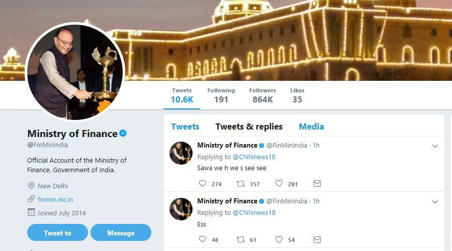 finance ministry, ministry of finance, fin min twitter handle, finance ministry goof up tweet, finance ministry butt tweet, funny news, indian express