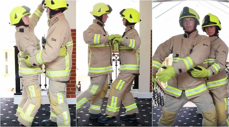 fire fighters, funny videos, fire alarm, dirty dancing, funny police videos, funny fire firefighter videos, kent firefighters dirty dancing videos, viral videos