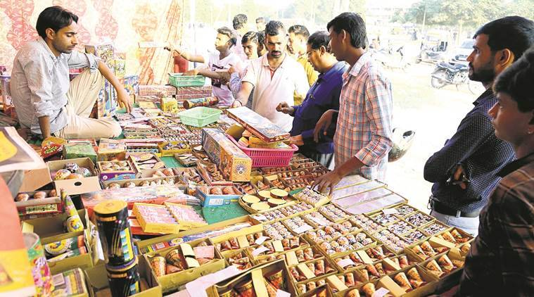 firecracker seller, patakha seller, chandigarh, diwali 2017, firecracker shops, indian express