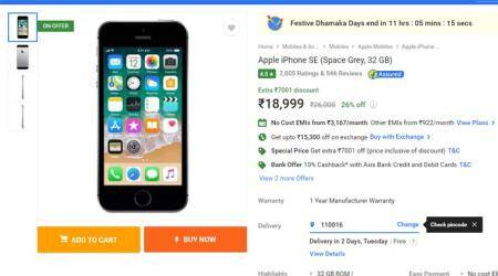 Flipkart, Flipkart Festive Dhamaka Days, Flipkart mobile phone sale, Flipkart mobiles sale, Flipkart mobiles exchange offer, Flipkart Mi A1 discount, Mi A1 exchange offer, Redmi Note 4 exchange offer, Redmi Note 4 sale, Apple iPhone SE exchange, iPhone SE discount