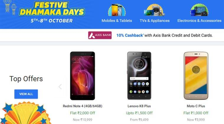 Flipkart, Flipkart Festive Dhamaka Days, Flipkart Diwali sale, Amazon, Amazon Great India Sale, Amazon Diwali sale, iPhone 8 discount, Flipkart iPhone discount, Redmi Note 4 discount, Flipkart Sale, Flipkart Diwali Sale, Flipkast Flash Sale, Mi A1 Sale, Amazon Sale, Flipkart Sale Today, Flipkart Mobile Sale, Amazon India Sale Today Deals, Amazon Flash Sale, Amazon Half Price Sale, Diwali sale om Amazom, Amazon Redmi 4a Sale