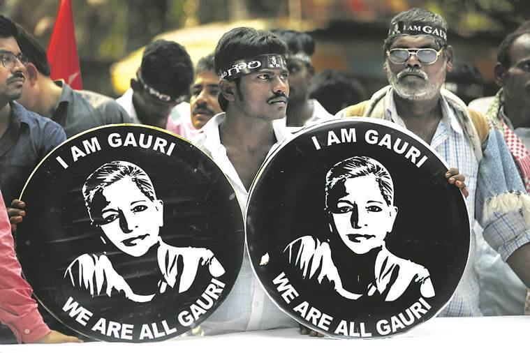 gauri lankesh murder, gauri lankesh murder protest, gauri lankesh death, karnataka, delhi protest, delhi news, india news, indian express news