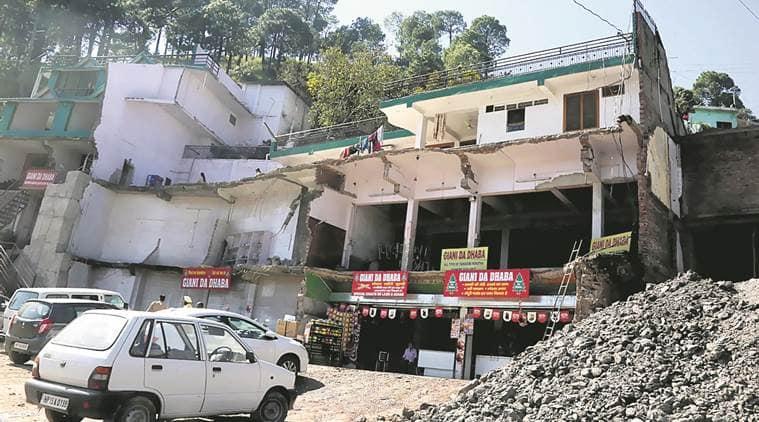 giani da dhaba shimla highway, kalka shimla highway widening project, nh22 highway, kasauli, shimla, indian express