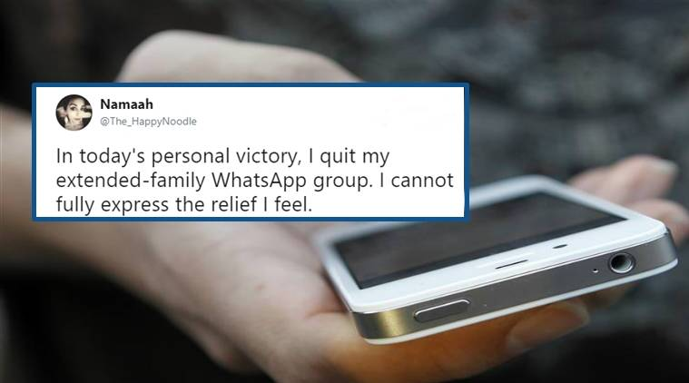 Woman quits family group, text of woman quitting family group, woman tweets after quitting family group, Indian express, Indian express news