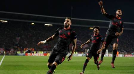 Europa League: Olivier Giroud's overhead kick gives Arsenal 1-0 win at Red Star Belgrade