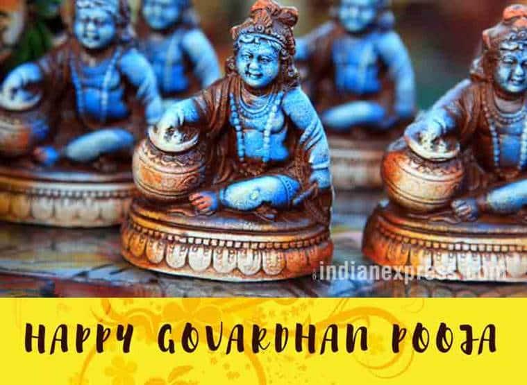 गोवर्धन पूजा, Govardhan Puja, Govardhan Puja WhatsApp messages, Govardhan Puja facebook wishes, Govardhan Puja greeting cards, Govardhan Puja wishes, indian express, indian express news