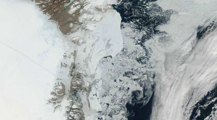 Greenland, melting ice, water salinity, ocean currents, Greenland fjords, freshwater content, Arctic Ocean, Greenland ice sheet, Aarhus University, Greenland Ecosystem Monitoring Program, plankton algae, fish, global ocean current circulation, thermohaline circulation