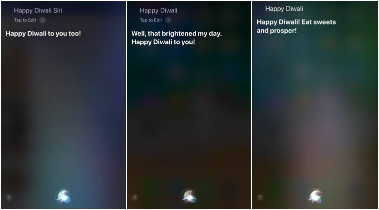 Apple, Siri, Happy Diwali, Diwali 2017, Google Assistant, Microsoft, Cortana, Happy Diwali Siri, artificial intelligence, voice assistant