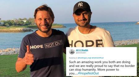 'Divided by borders, united by hearts': Tweeple shower love as Harbhajan Singh join hands with Shahid Afridi for charity event
