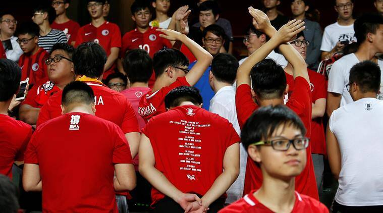 national anthem jeered, china national anthem, hong kong vs malaysia, asian cup qualifiers, football news, sports news, indian express