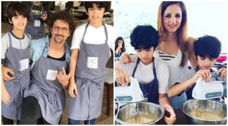 Photos: Hrithik Roshan, Sussanne Khan take sons Hrehaan-Hridhaan to a cookeryclass