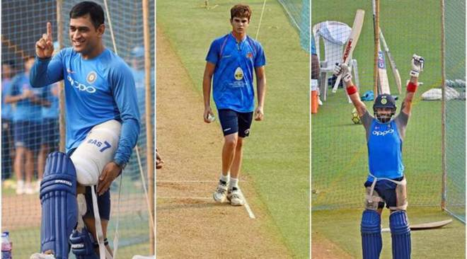 Sachin Tendulkar's son Arjun bowls to Indian cricket team in the nets