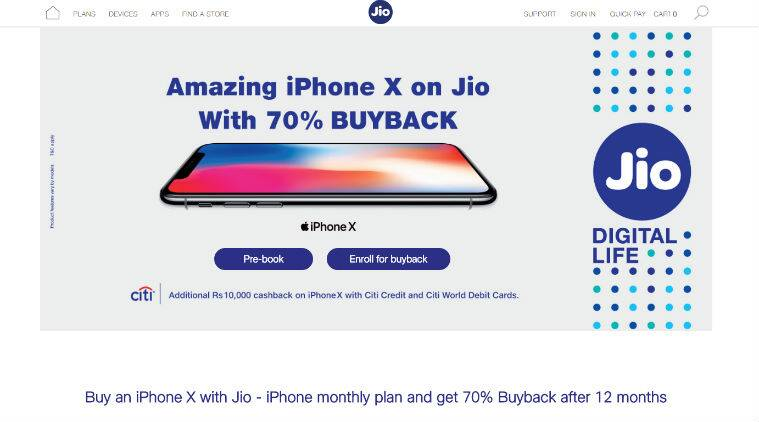 Image result for Reliance Jio 70% Buyback offer on Apple iPhone X