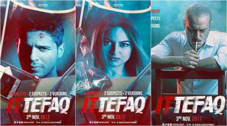 Ittefaq new posters: Sonakshi and Sidharth are framed for a crime they didn't commit, Akshaye Khanna refuses to believe them