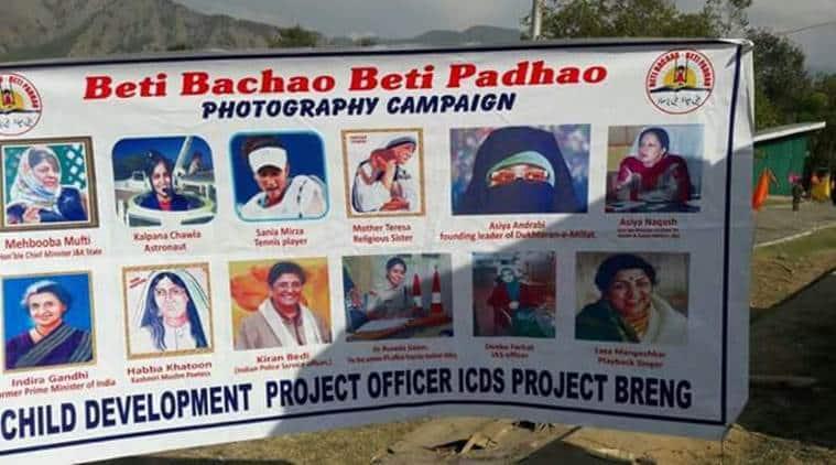 Separatist leader, Asiya Andrabi, 'Beti Bachao, Beti Padhao' campaign, campaign poster, J-K campaign poster, J-K news, india news, indian express