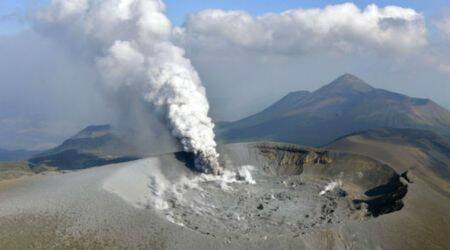 Volcanic eruption in Japan spews ash over four cities,towns