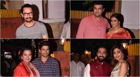 aamir khan, aamir khan images, vidya balana, vidya balan tumhari sulu, farhan akhtar, shabana azmi, javed akhtar, shilpa shetty, shilpa shetty images, javed akhtar diwali party, bollywood diwali, bollywood diwali party,