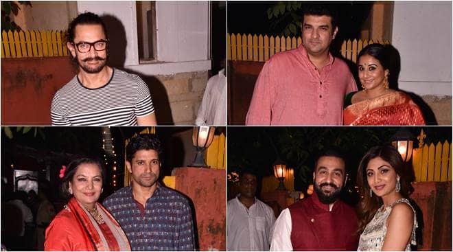 aamir khan, aamir khan images, vidya balana, vidya balan tumhari sulu, farhan akhtar, shabana azmi, javed akhtar, shilpa shetty, shilpa shetty images, javed akhtar diwali party, bollywood diwali, bollywood diwali party,
