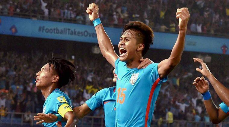 india vs colombia, ind vs col, jeakson singh, amarjit singh, india vs colombia goal, fifa u 17 world cup,