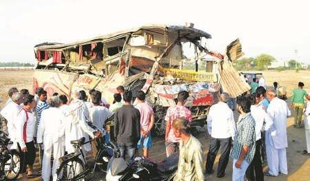 Five dead, dozens injured as bus rams into truck in Haryana