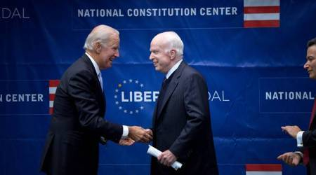 US Senator John McCain receives Liberty Medal from Joe Biden