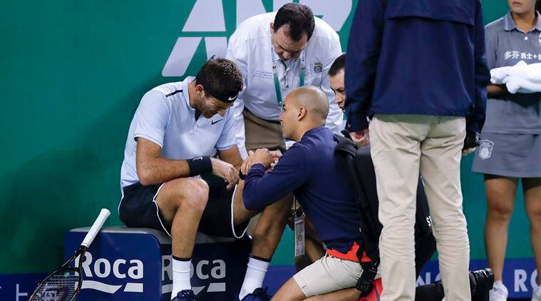 Juan Martin Del Potro has wrist placed in splint after fall in Shanghai Masters