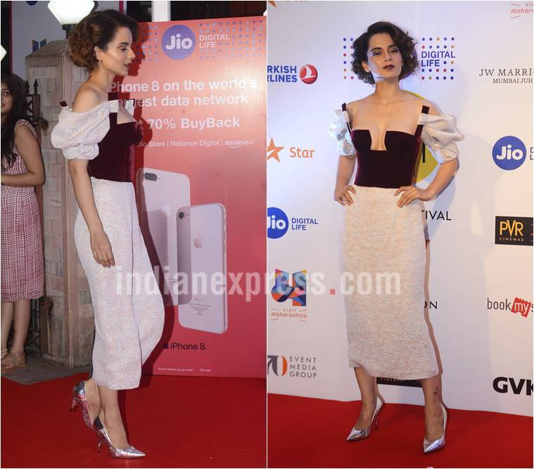 Kangana Ranaut, mami, Kangana Ranaut style file, Kangana Ranaut mami red carpet look, Kangana Ranaut bold looks, Kangana Ranaut ambani party, Kangana Ranaut mami after party, bollywood news, fashion news, indian express, entertainment news