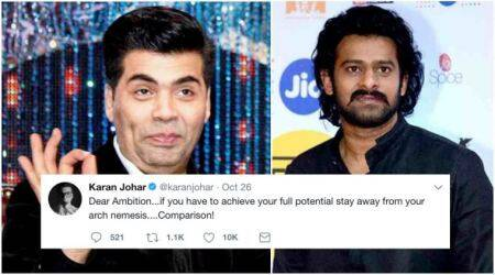 Karan Johar's cryptic tweet a dig at Prabhas who has reportedly hiked his price?