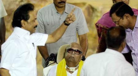DMK chief M Karunanidhi makes public appearance after nearly a year