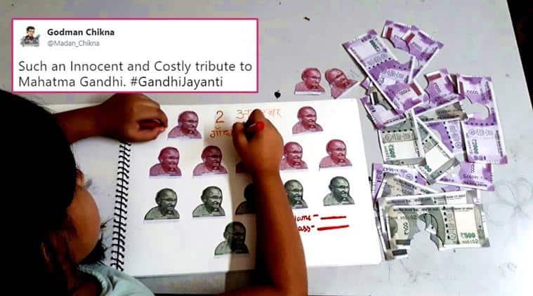 gandhi jayanti, mahatma gandhi, kid picture mahatma gandhi, kid gandhi project, kid notes school project gandhi, mohandas karamchand gandhi, Rs 500 notes, Rs 2000 notes, indian express, indian express news