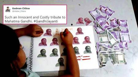 On Gandhi Jayanti, this VIRAL photo of a kid's project has sent SHOCK WAVES on social media