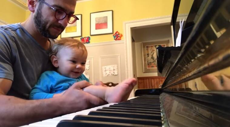 funny videos, funny children videos, kid playing piano with foot, kid playing with foot, indian express, indian express news