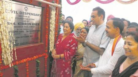 Chandigarh: Kirron Kher lays foundation of civil dispensary in rehabilitation colony