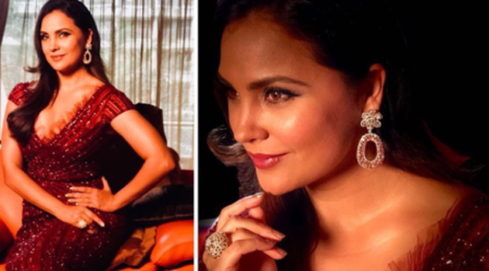 Lara Dutta looks like sparkling red wine in this gorgeous gown at the Miss Diva 2017 finale