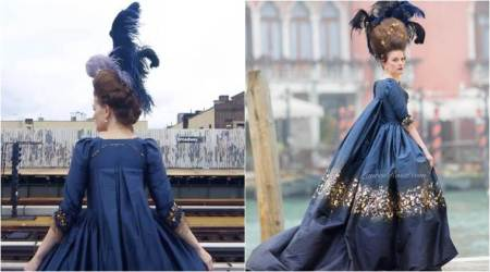This corporate woman is living her French court fantasies by wearing handmade vintage gowns towork
