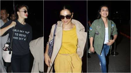 Deepika Padukone, Deepika Padukone latest photos, Jacqueline Fernandez, Jacqueline Fernandez latest photos, Rani Mukerji, Rani Mukerji latest photos, airport fashion bollywood, bollywod fashion, indian express, indian express news