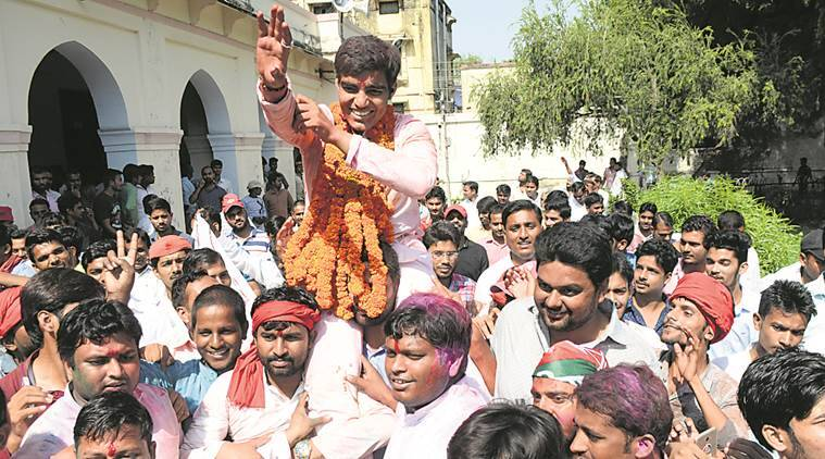 Allahabad University student election , Allahabad University polls, Samajwadi Chhatra Sabha (SCS), Akhil Bharatiya Vidyarthi Parishad (ABVP) , Samajwadi Party's student wing, UP News, indian express news