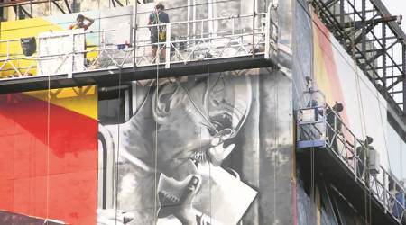 Churchgate station building: Coming up in a week, Brazilian artist Eduardo Kobra's mural ofGandhi