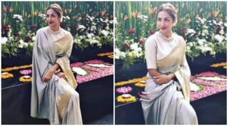 Malaika Arora looks royal in a Raw Mango sari; seepictures
