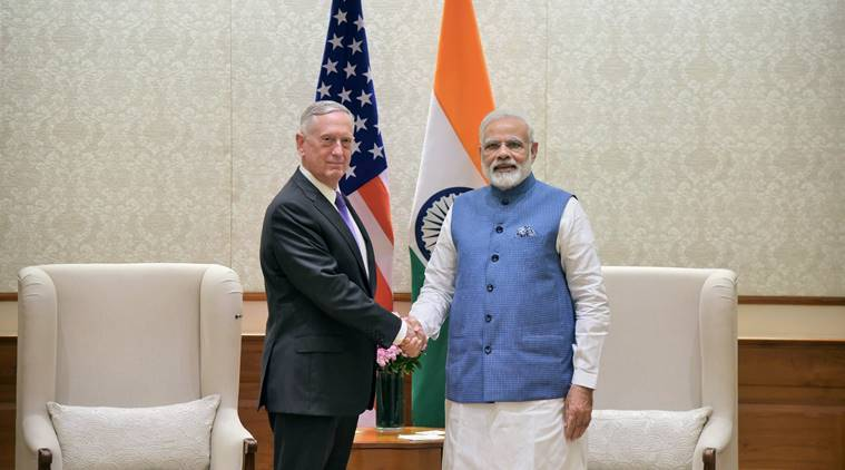 Jim Mattis, Mattis in India, Narendra Modi, Modi Mattis, Nirmala Sitharaman, India US defence ties, India news, Indian Express