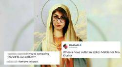 mia khalifa, mia khalifa virgin mary photo, mia khalifa compare malala, malala yousafzai, malala, malala jeans photo, malala wears pants, malala oxford photo, malala trolled for jeans, malala slammed for tousers, online trolling, malala slut shaming, world news, viral news, trending news, indian express
