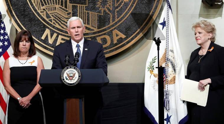 las vegas mass shooting, mike pence, us resolve to fight terror, united state, american vice president, mike pence in vegas, world news, indian express