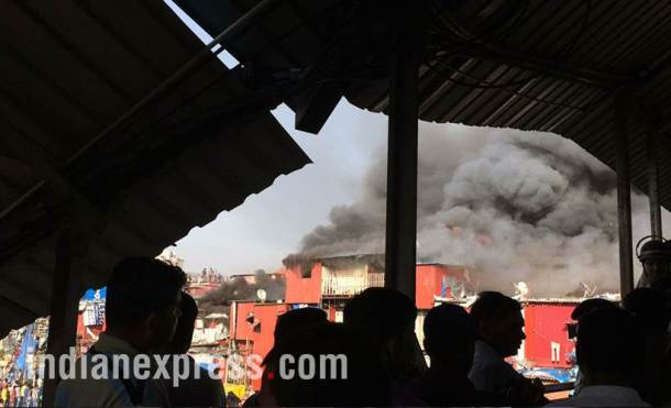 bandra fire photo, mumbai fire photo, bandra station fire images, pictures of mumbai fire in bandra, garib nagar fire accident, bandra east fire pics, mumbai fire accident pictures, bandra fire news, indian express photos