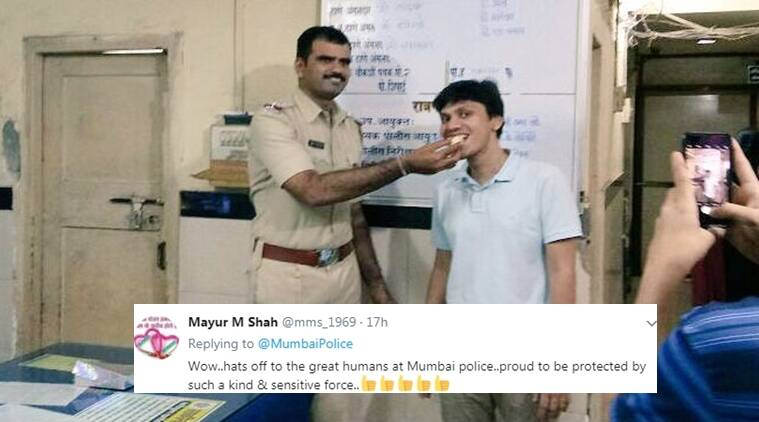 Mumbai police, mumbai police twitter, mumbai police birthday celebrations, mumbai police celebrates birthday of a man, twitter reactions, indian express, indian express news